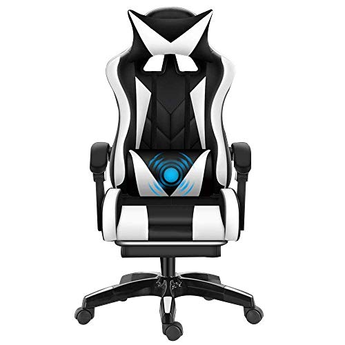 Chair Computer Chair Multifunction Gameing Chair Height Adjustable Ergonomics Gaming Chair with Footrest High Back Reclining Office Chiar with Headrest and Lumbar Support,Black White