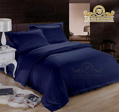 "600-Thread-Count 100% Organic Cotton Bed 4Pc Sheet Set 60""x80"" Queen Size Navy Blue Solid - Single Ply Long Staple Combed Cotton Yarns, Best Luxury, Fits Mattress Upto 16'' Deep Pocket"