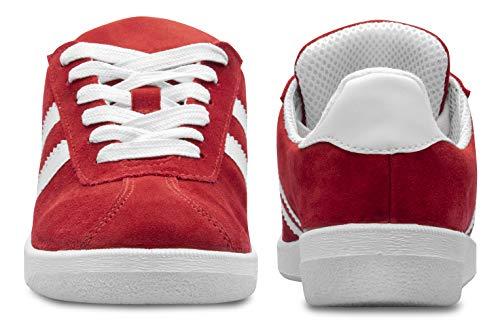 AROMATIKA trust the power of nature Sneakers - Unisex Schuhe - für Frauen & Männer - Teenager - Wildleder - Freizeitschuhe - Bequem - Leicht - Zum Wandern bei Trockenem Wetter - Rot - Größe 39