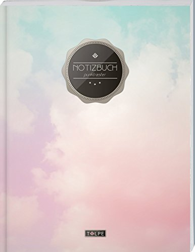 """TULPE Punktraster Notizbuch A4 """"C073 Himmel"""" (140+ Seiten, Vintage Softcover, Punktkariertes Papier - Bullet Journal, Dickes Notizheft, Skizzenbuch, Tagebuch, Gepunktete Seiten, Dot Grid Notebook)"""