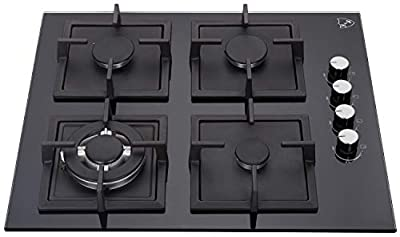 """K&H 4 Burner 24"""" Built-in NATURAL Gas Glass Cast Iron Cooktop 4-GCW"""