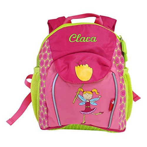 Sigikid Mädchen-Rucksack mit Wunsch-Name bestickt grün pink 29 cm x 10 cm x 24 cm Fee Florentine Kindergarten-Rucksack personalisiert