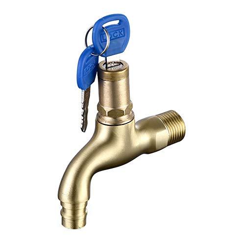 WYBF Anti Diebstahl Wasserhahn mit Schlossschlüssel Einloch Schlüsselschalter Waschmaschine Mopp Pool Wasserhahn,01