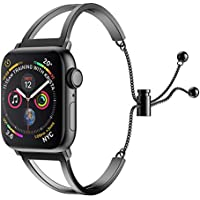 SamHity Stainless Steel Watch Bands Compatible for Apple Watch Series 4 3 2 1 (38mm 40mm, Black)