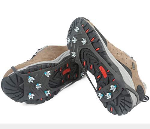 Tacos de hielo tracción crampones, 8 de acero inoxidable Spikes Anti Slip nieve de las botas Grips Los zapatos con sistema de seguridad Proteja para caminar, correr, subir, pesca o el senderismo,Male