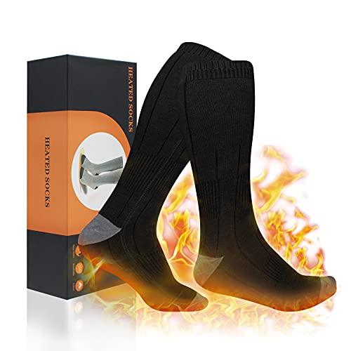 XBUTY Calcetines Calefactables, Calentadores térmicos para pies con batería de 3.7V 4800mAh, calcetines térmicos para clima frío para deportes al aire libre y senderismo