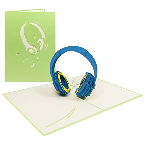 Pop Up Karte 3D Headphone Geburtstagskarte Gutschein Glückwunsch Party Feiern Musik DJ - Headphone 092