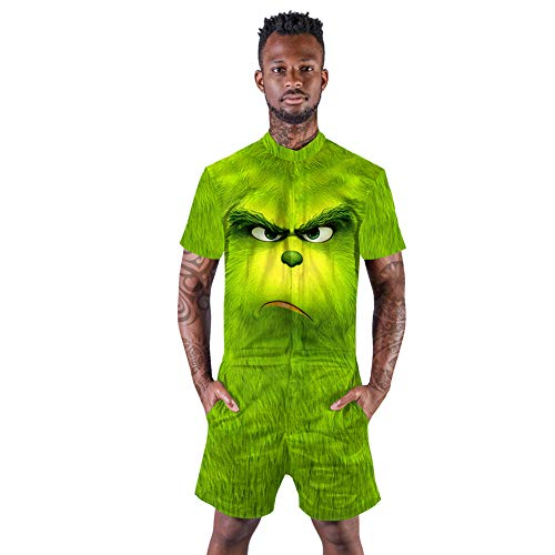 Mannen Vrouwen Novelty Romper 3D Print Zip Up Jumpsuit Zomer Casual Strand One Piece Outfits met zakken M-XXL,H,L