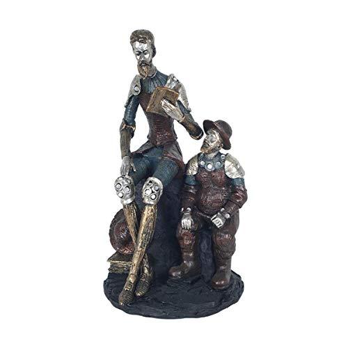 CAPRILO. Figura Decorativa de Resina Don Quijote y Sancho Sentados. Adornos y Esculturas. Decoración Hogar. Regalos Originales. 30 x 17 x 15 cm.