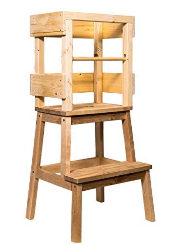 Kindino® Lernturm mit einem zusätzlichen Rausfallschutzstab Learning Tower Learningtower Hochstuhl Montessori