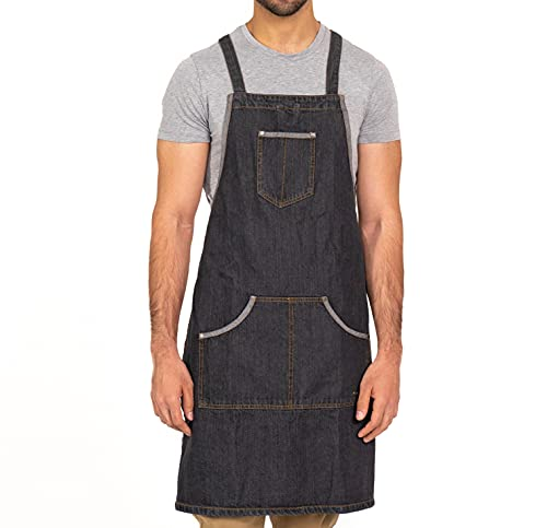 Multipurpose Denim Chefs Apron For Men and Women for Kitchen, Grilling, Shop, and Work-Dark