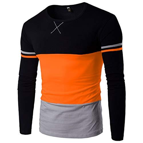 Xmiral Herren Pullover weatshirts Herbst Winter Farbblock Spleißen Gestreiftes Langarm T-Shirt(XL,Orange)