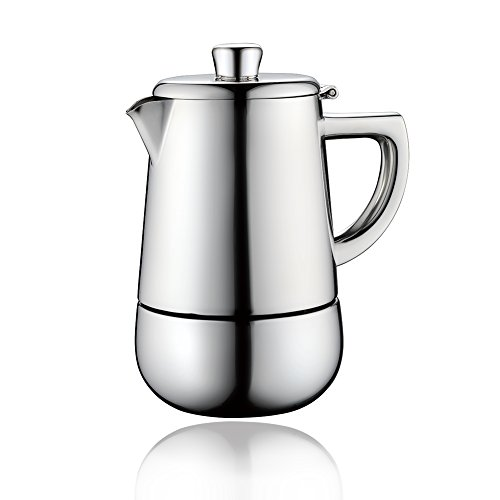 Minos Moka Pot Espresso Maker - 6 cups - 10 fl oz - Stainless Steel And Heatproof Handle - Suitable for Gas, Electric And Ceramic Stovetops