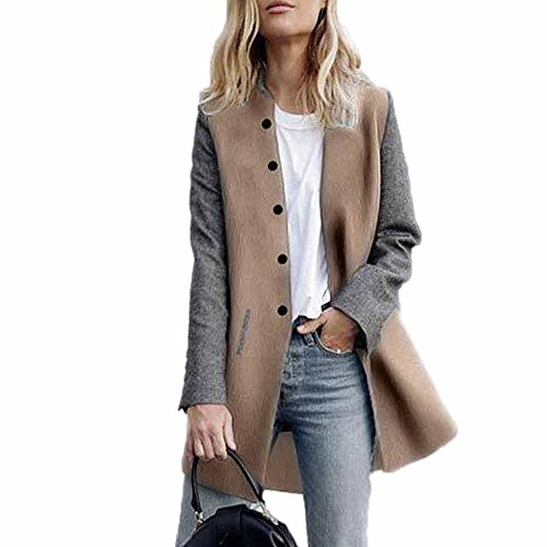 DAY.LIN Top Kleidung Damen Womens Casual Langarm Strickjacke Jacke Lady Coat Jumper Strickwaren Kontrastfarbe Nähen Wolle Mantel Langer Mantel (Grau, EUM/XL)