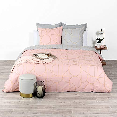 CÔTE DECO Parure de lit avec Housse de Couette 220x240 cm + 2 Taies d'oreiller 63x63cm Parure de lit pour 2 Personnes géométrique Or, Rose et Gris 100% Coton