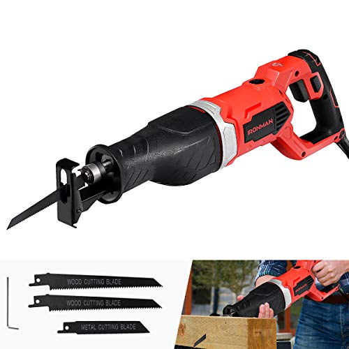 Goplus Reciprocating Saw, 9Amp 1-1/8'' Stroke Length, 2500SPM Variable Speed and Trigger Switch with 3 Saw Blades for Wood and Metal Cutting, Electric Saw with Copper Wire Motor and Power Indicator
