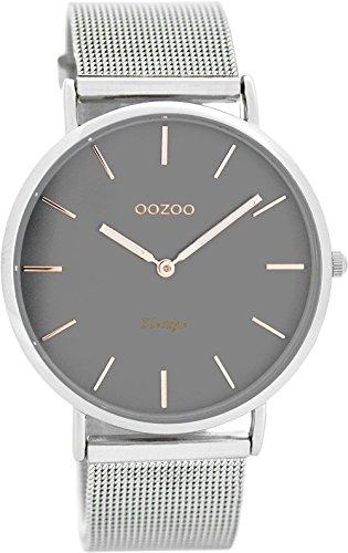 Oozoo Vintage Ultra Slim Metallband 40 MM Silber/Grau C7725