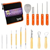Halloween Haunters Ultimate 14 Piece Professional Pumpkin Carving Tool Kit - Easily Carve Sculpt...