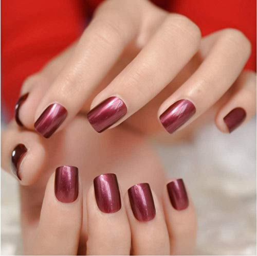 CSCH Faux ongles False Nails Gel Cover False Nails Golden Powder Nude Press On Nails Short Party Evening 24