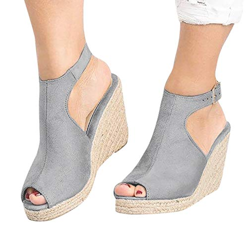 Cookinty Wedge Sandals for Women Espadrille Ankle Buckle Strap Open Toe Platform Sandals Casual Summer Strappy Sandals Gray