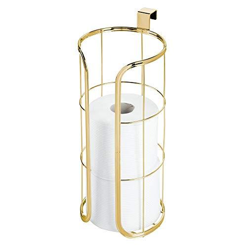 mDesign Moderner Toilettenpapierhalter zum Aufhängen über dem Tank – für 3 zusätzliche Rollen, hält Jumbo-Rollen – langlebiger Metalldraht Pack of 1 Aus weichem Messing