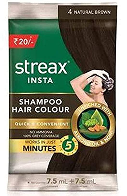 ほめる本体噴出するOmg-deal 3 Pack Streax Shampoo Natural Brown Hair Colour