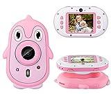Flybiz Cámara para Niños, 2,4 Inch HD Pantalla 1080P, 8 MP Doble Objetivo, Cámara Digitale Selfie con Tarjeta TF 32GB, Impermeable, Carcasa de Silicona,Regalos para niños de 3 a 12 años (Rosado)