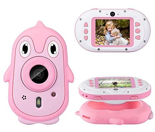 Flybiz Fotocamera Bambini, 8MP Video HD 1080P Schermo da 2,4 Pollici (Scheda 32GB Inclusa), Fotocamera Digitale Subacquea Impermeabile, Ciclismo Nuoto, Giocattoli RegaloRagazzi Ragazze (Rosa)