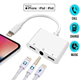 3 in 1 Lighting to 3.5mm Headphone Jack Adapter,AUX Dual Audio Adapter for iPhone Xs/XS Max/XR/X / 7/7 Plus / 8/8 Plus, iPad, iPod (iOS 11, 12,13) - White