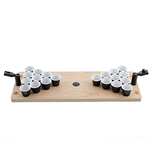 Kobert-Goods Das legendäre Hochwertige Mini Shot Bier-Pong Holz-Tisch Spiel für jeden Anlass an jedem Ort mit 25 Bechern 2 Katapulten inkl. Ball EIN Flexibles Trink-Spiel für unterwegs und zuhause