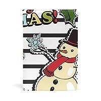 SoreSore(ソレソレ) ブックカバー a5 サンタクロース 雪だるま ストライプ 縞 ホワイト かわいい 皮革 レザー 文庫本 ノートカバー メモ 手帳カバー 革 A5 かわいい おしゃれ