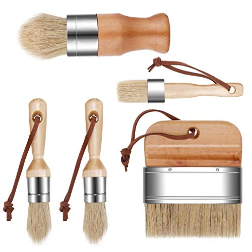 5 Pieces Chalk and Wax Paint Brushes Natural Bristles Wooden Handle DIY Painting and Waxing Brushes for Art Craft Wood Furniture Home Decoration Waxing Painting Projects