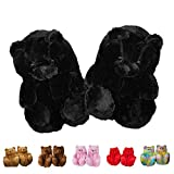 Blivener Womens Slippers Plush Teddy Bear Slippers, Cute Fluffy Warm House Bedroom Slipper, Cozy Soft Home Indoor Shoes Black