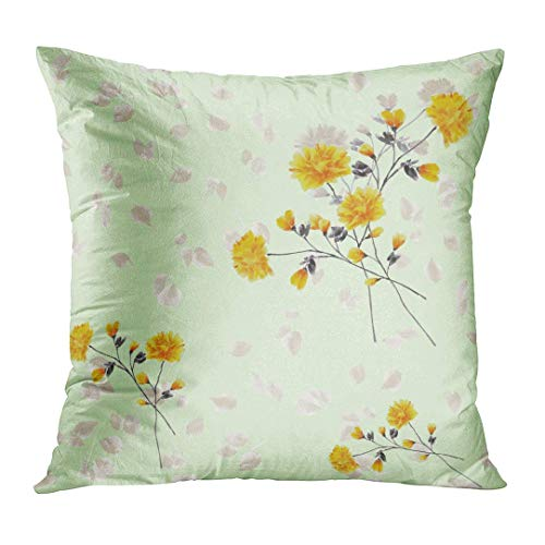 Throw Pillow Cover Gray Floral of Yellow Flowers and Branches on Light Green Watercolor Pattern Small Abstract Autumn Home Decor Square Cushion Pillowcase (Two Sides) 22x22 Inch