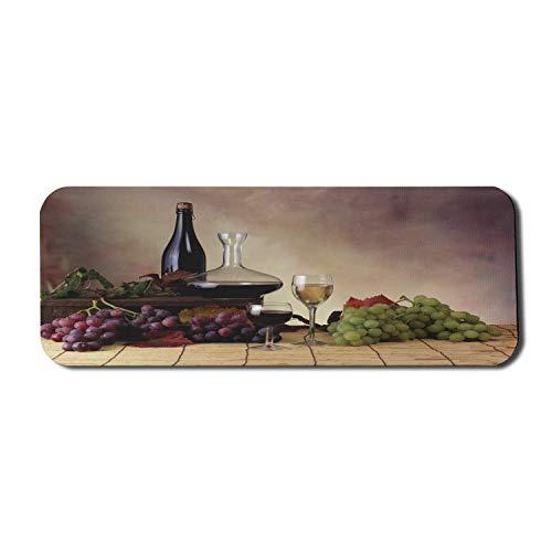 Wein Computer Mauspad, Trauben Weine Flaschen Gläser Bild Kunstwerk Gourmet Geschmack Champagner Alkoholische Getränke, Rechteck rutschfeste Gummi Mousepad große Pflaume braun
