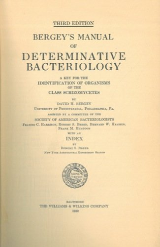 Bergey's manual of determinative bacteriology. A key for the identification of organisms of the class Schizomycetes.