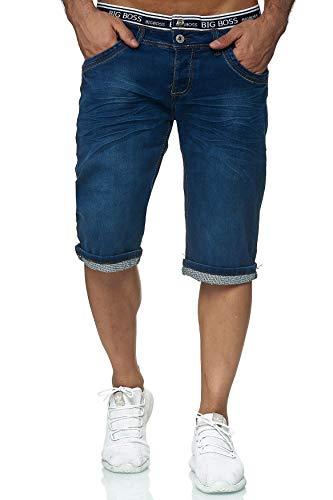 EGOMAXX Jaylvis Herren Jeans Shorts Kurze Bermuda Hose Used Washed, Farben:Dunkelblau, Größe Hosen:W29
