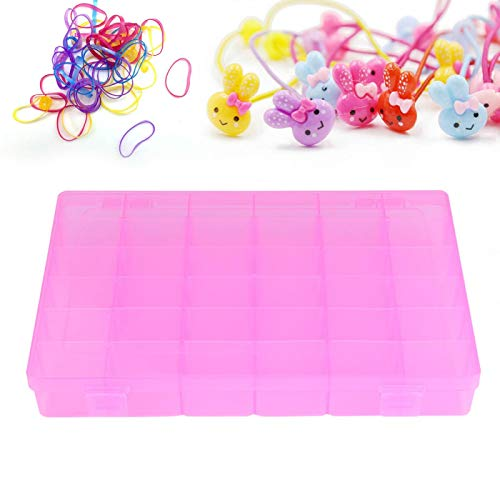 Pendientes de plástico Estuche de plástico con Anillo Colgante Rosa/Azul para Viajes a casa(Pink)