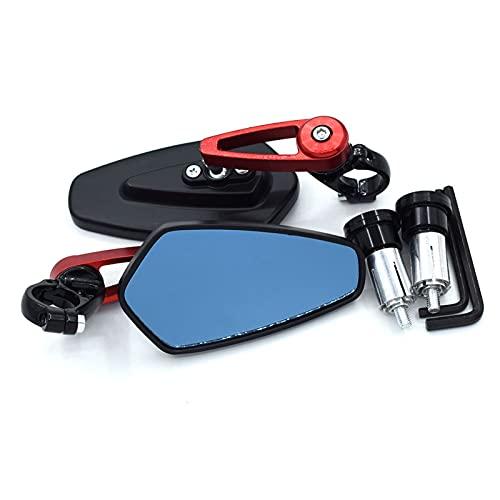 Espejo de la Motocicleta para Honda Valkyrie 1500 CB1000R Shadow 125 Super Cub Integra 750 Steed 400 Espejos Retrovisores De Manillar De Extremo De Barra De Espejo De Motocicleta (Color : Rojo)