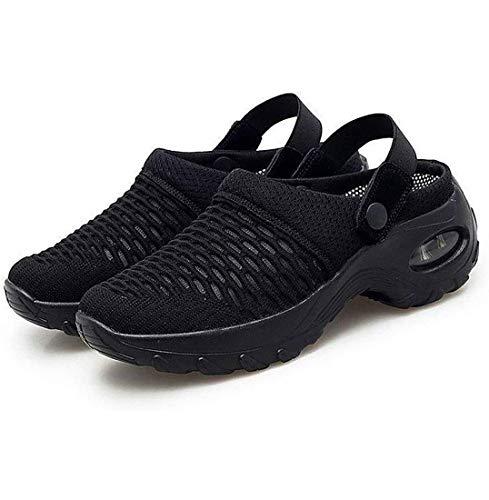 HJIAO Sandalias ortopédicas para Caminar, Sandalias de cuña Ajustables, Sandalias de Verano para Mujer, Zapatos de jardín de Malla para Mujer, multifunción, Antideslizantes (Black,7.5)