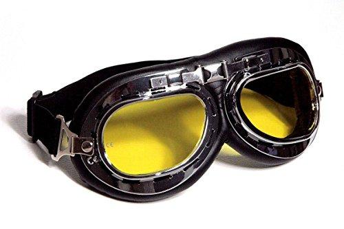 Qubeat Motorradbrille Fliegerbrille Chopper Biker schwarz mit gelb getönten Gläsern