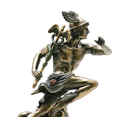 Veronese Hermes Mercury - Escultura de dios romanos griego, acabado en bronce, 21 cm