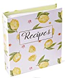 Heart & Berry Recipe Binder for Recipe Cards - Lemon 8.5' x 9.5' Recipe Book Binder With Cards, Dividers and Plastic Page Protectors