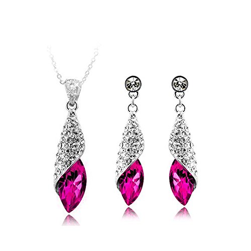 Pink Water Drop Fashion Pendant Necklace and Earrings Jewellery Set for Women Made with Austrian Crystal and 18K White Gold Plated