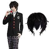 Akira Kurusu Ren Amamiya Joker Cosplay wig Xcoser Persona 5 Black Short Curly Hair for Men