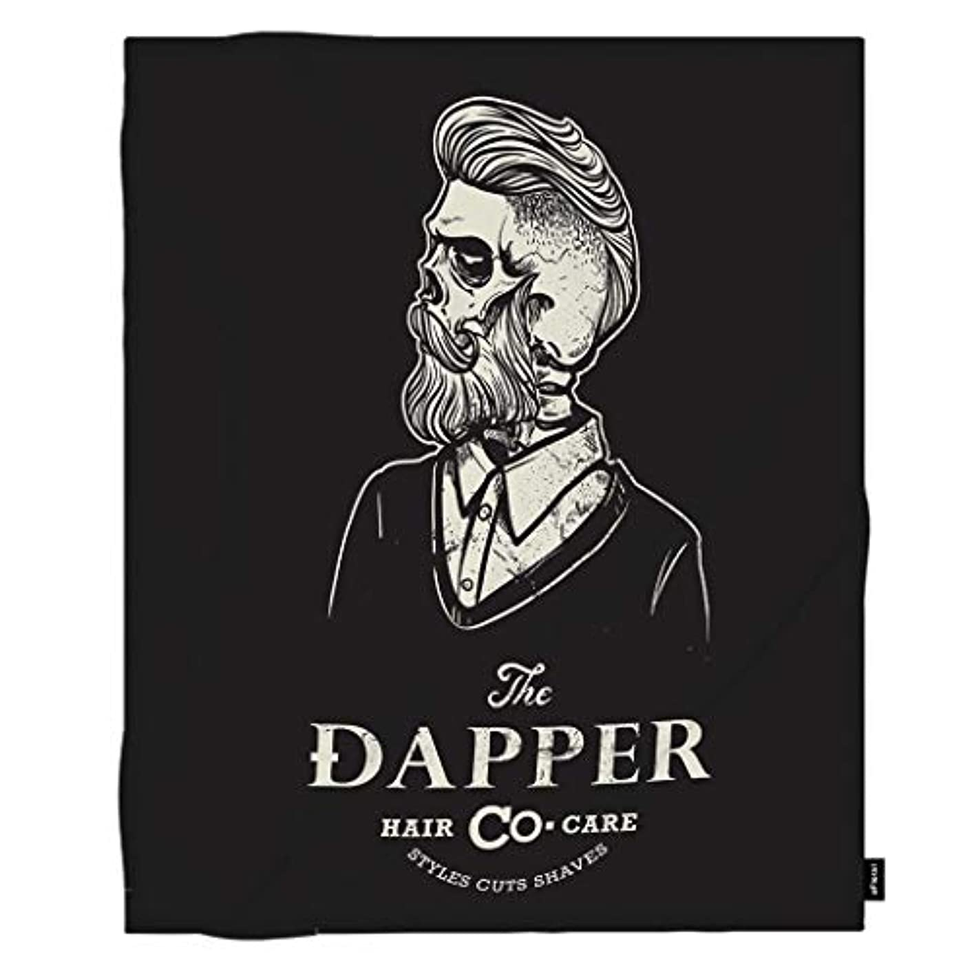 oFloral Hipster Throw Blanket Male Skull Barber Shop Logo Retro Tattoo Print Decorative Soft Warm Cozy Blankets for Baby Toddler Home Decor for Bed Chain Sofa Couch 40x50 Inch