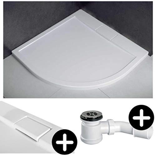 Duschwanne Duschtasse SUPERFLACH Viertelkreis 90x90 cm weiß glatt + Ablaufgarnitur McAlpine fi 50 BAD SET Abdeckplatte Sanitär-Acryl