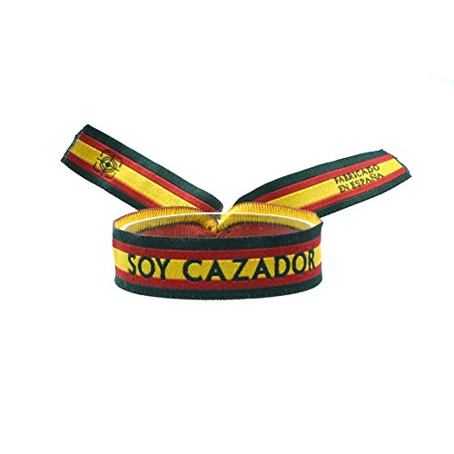 BDM Pulsera Bordada Soy Cazador con los Colores de la Bandera de España y Bordes en Verde.