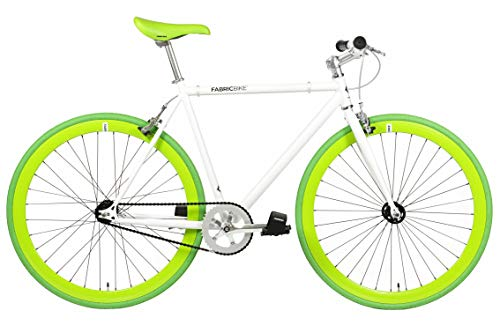 FabricBike- Bicicleta Fixie, piñon Fijo, Single Speed, Cuadro Hi-Ten Acero, 10,45 kg. (Talla M) (L-58cm, Space White & Green)