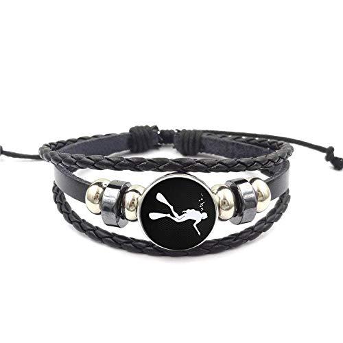 Taucher Schwarz Leder Armband Armreif Glas Cabochon Schmuck Für Valentinstag Geschenk